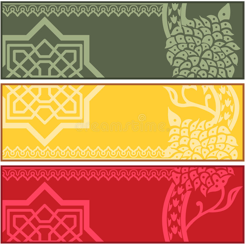 Знамена с исламскими орнаментами иллюстрация штока