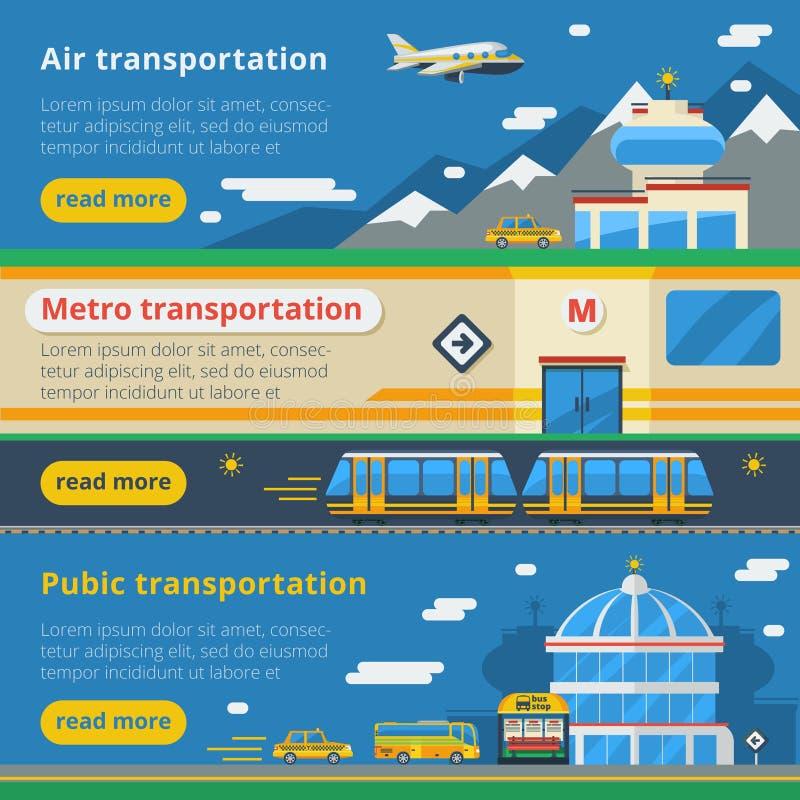 Знамена транспорта пассажира горизонтальные иллюстрация штока