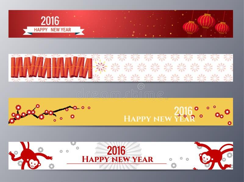 Знамена установили с китайской иллюстрацией вектора обезьян Нового Года бесплатная иллюстрация