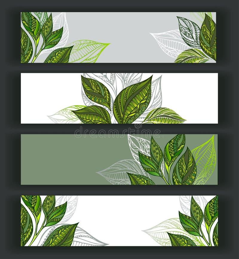 знамена установили чай иллюстрация вектора