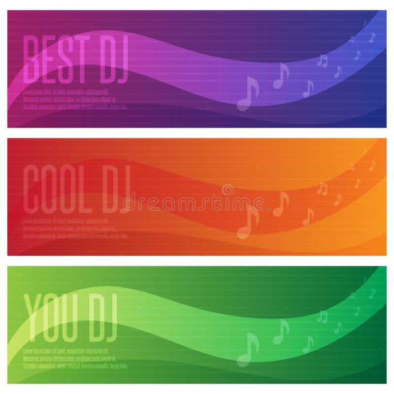 Знамена установленные dj и темы музыки иллюстрация вектора