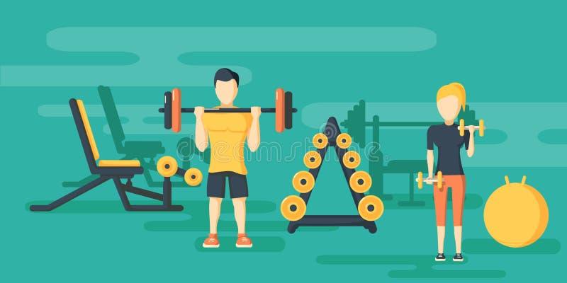 Знамена фитнеса плоские горизонтальные с спортзалом иллюстрация штока