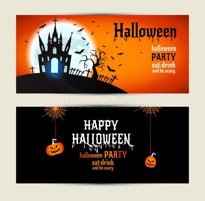 Знамена хеллоуина установили на оранжевую и черную предпосылку бесплатная иллюстрация