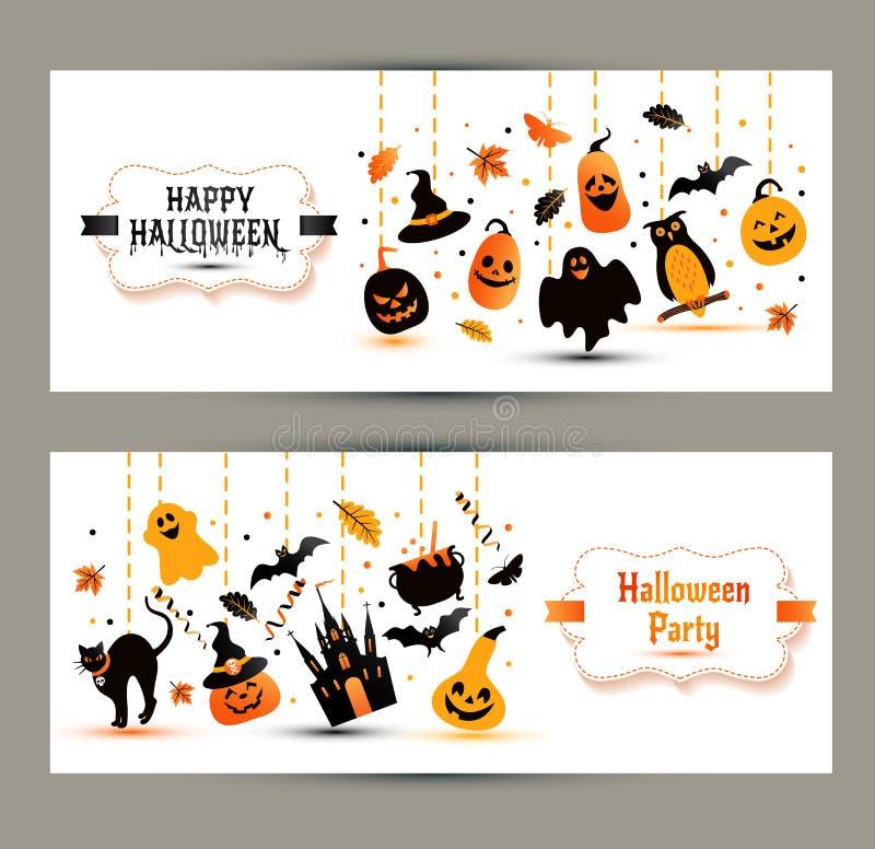 Знамена хеллоуина установленные на белую предпосылку Приглашение к ноче p бесплатная иллюстрация