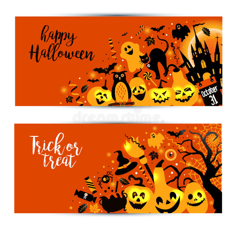 Знамена хеллоуина установленные на оранжевую предпосылку Приглашение к ноче иллюстрация штока