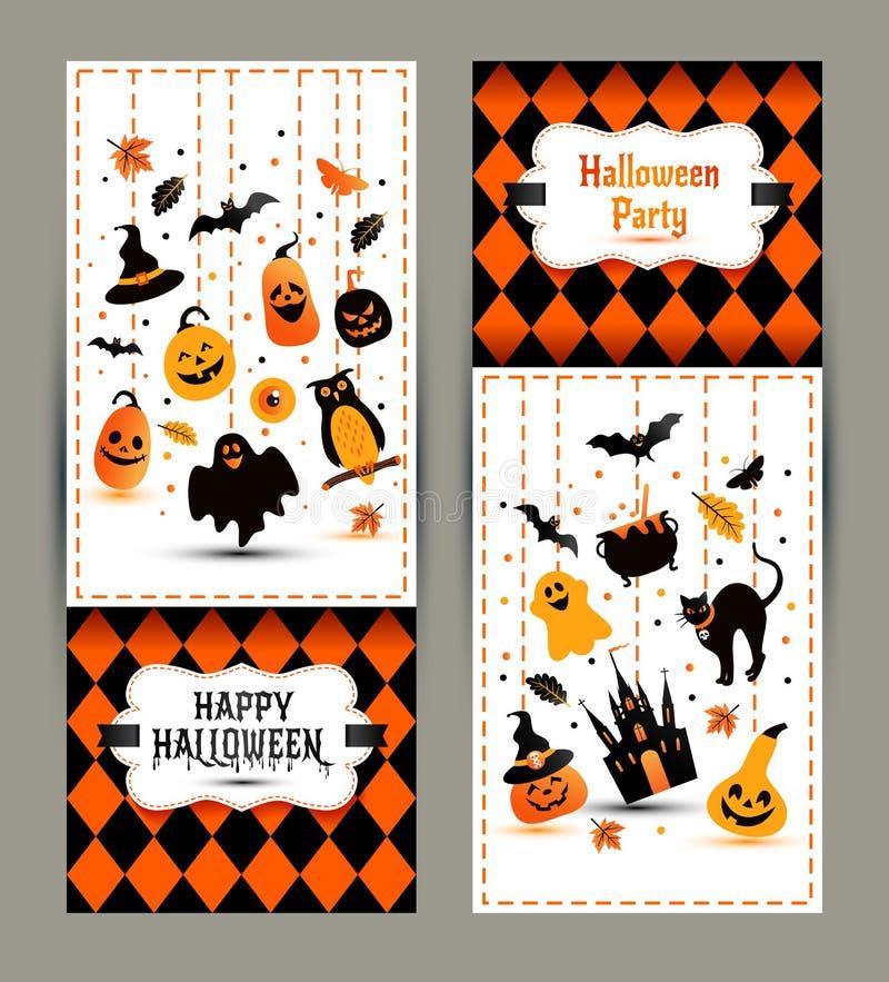 Знамена хеллоуина установленные на предпосылку цветов Приглашение к ноче бесплатная иллюстрация