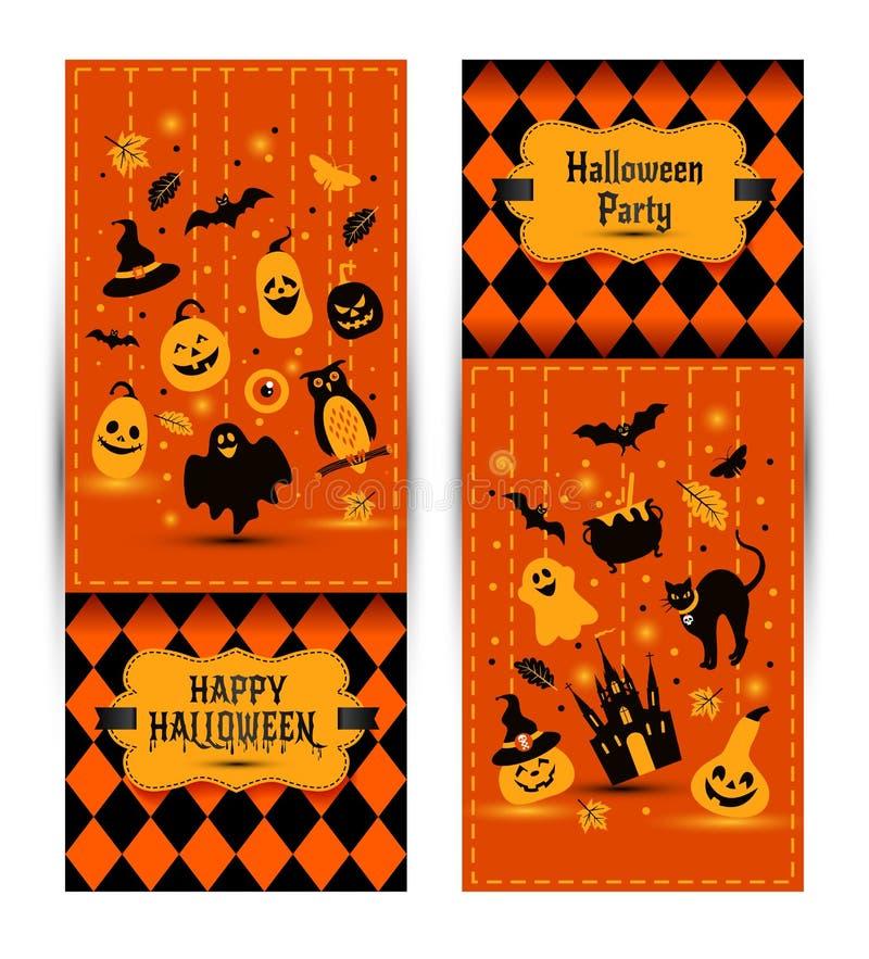 Знамена хеллоуина установленные на предпосылку цветов Приглашение к ноче иллюстрация штока