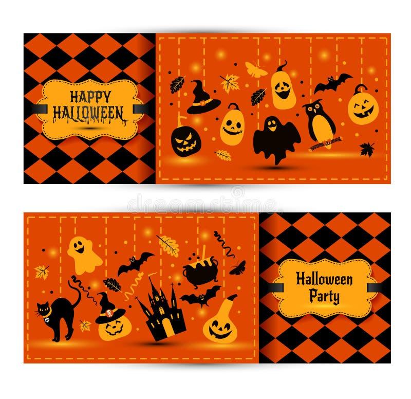 Знамена хеллоуина установленные на предпосылку цветов Приглашение к ноче иллюстрация вектора