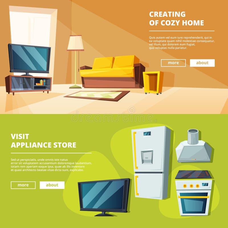 Знамена шаржа с иллюстрациями различной мебели для кухни и живущей комнаты иллюстрация штока