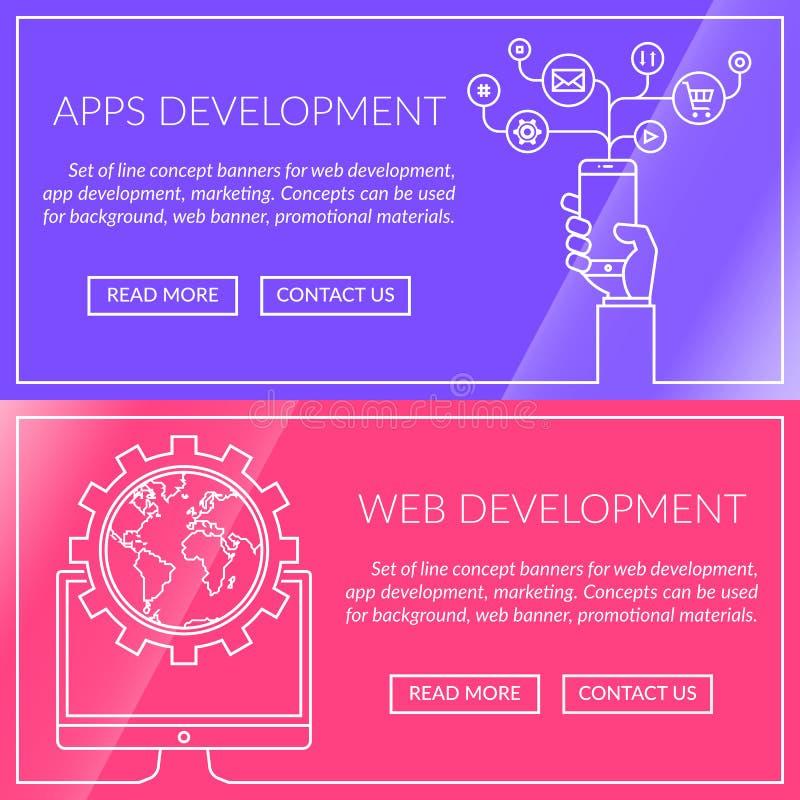 Знамена для apps и развития сети иллюстрация вектора