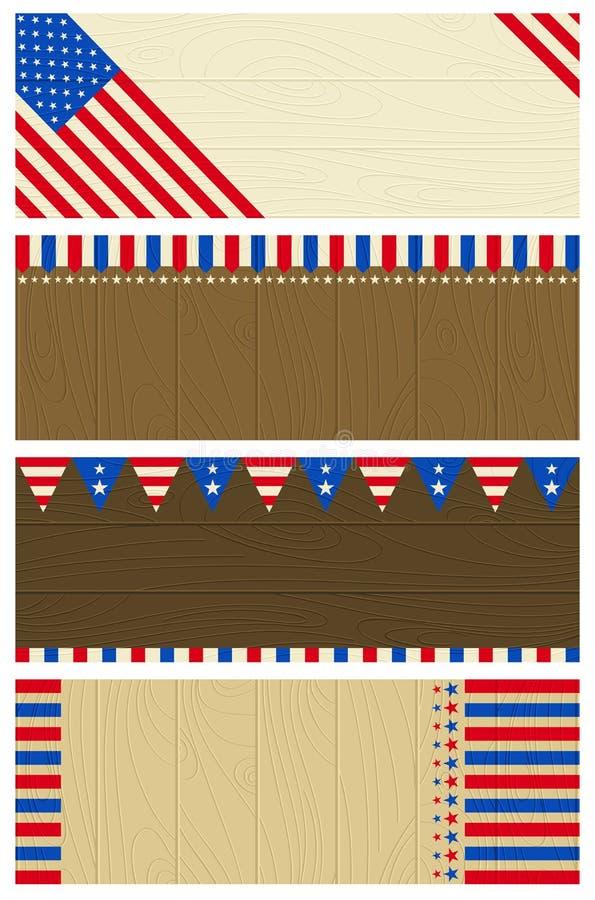 знамена 4 США деревянного бесплатная иллюстрация