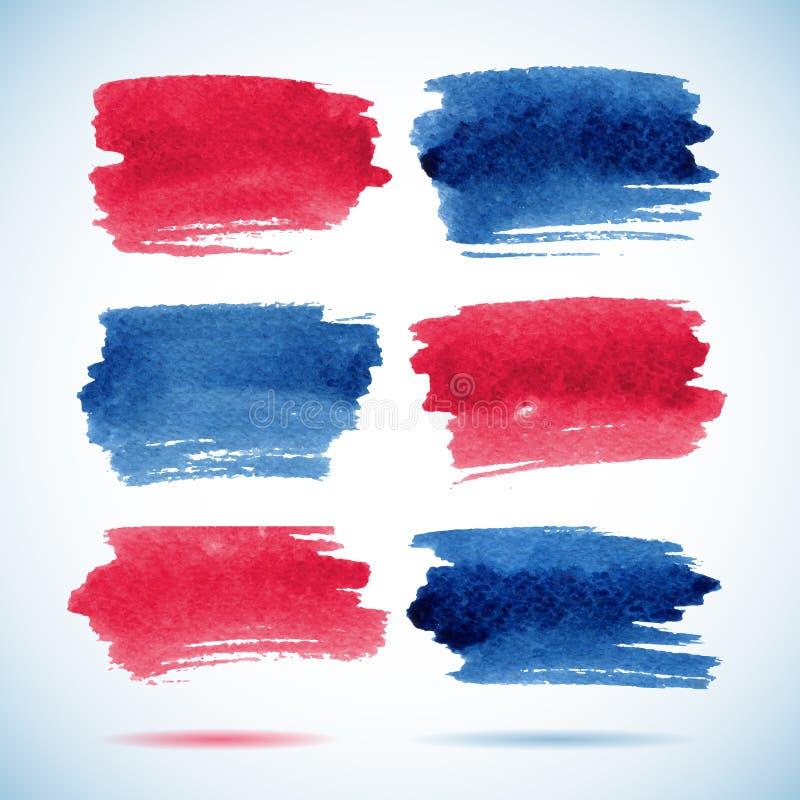 Знамена Brushstroke Акварель чернил красная и голубая иллюстрация вектора