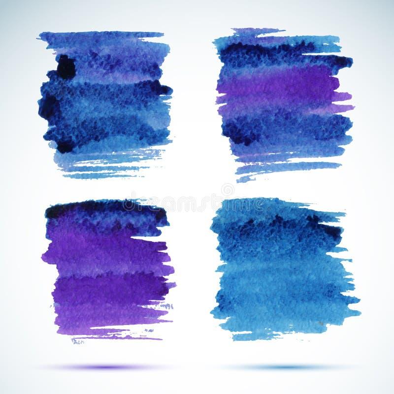 Знамена Brushstroke Пятно акварели чернил голубое иллюстрация вектора