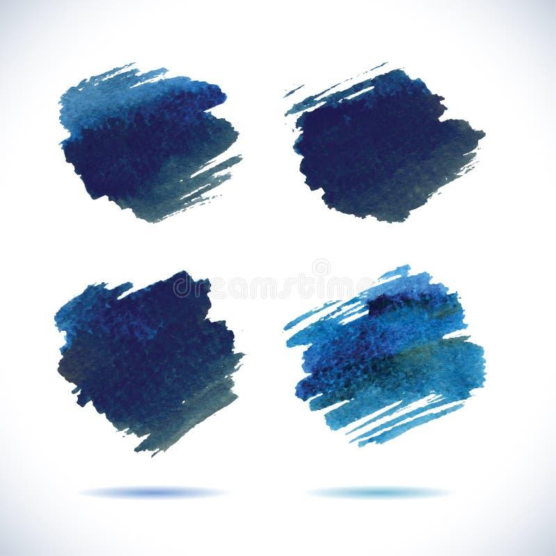 Знамена Brushstroke Пятно акварели чернил голубое иллюстрация штока