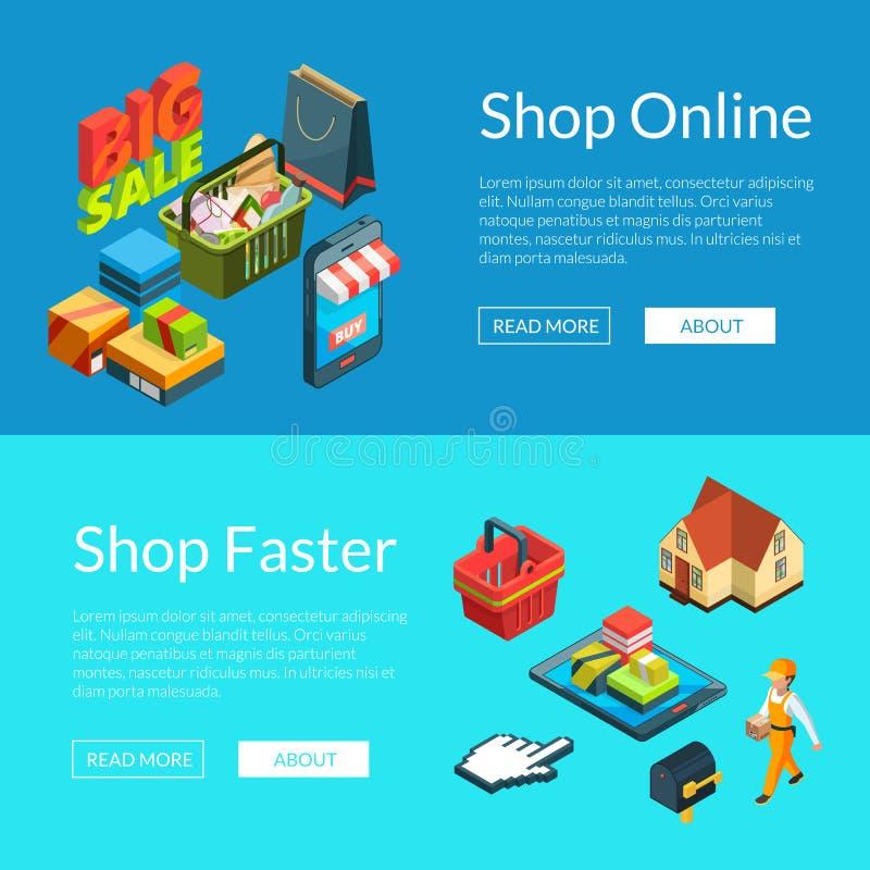 знамена E-покупок Иллюстрация значков покупок вектора равновеликая онлайн иллюстрация вектора