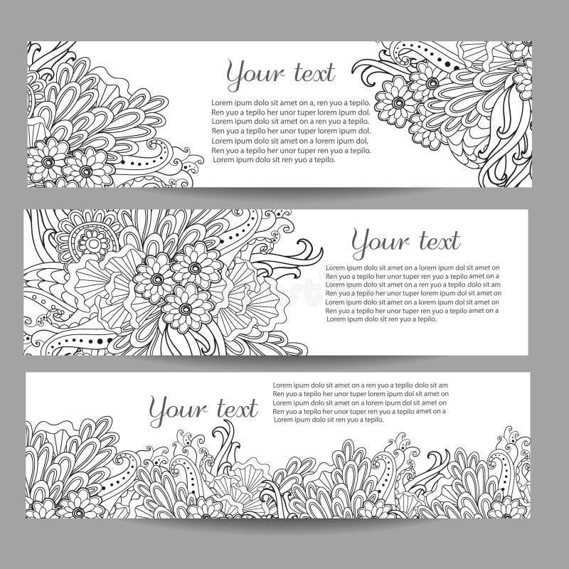 3 знамени вектора с красивым monochrome цветочным узором в стиле doodle иллюстрация штока