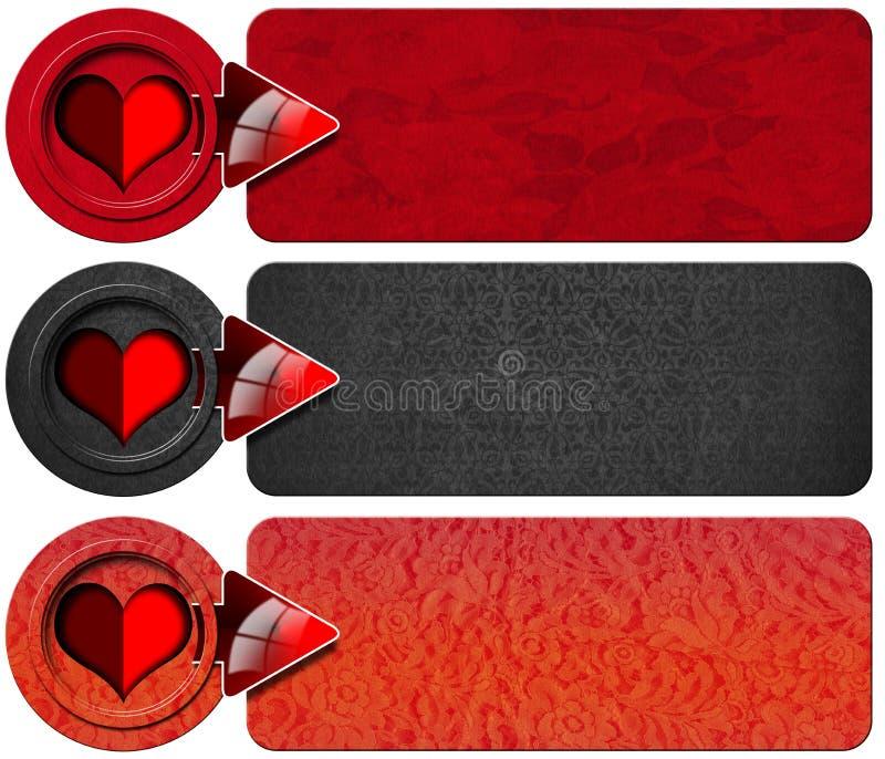 3 знамени влюбленности иллюстрация вектора