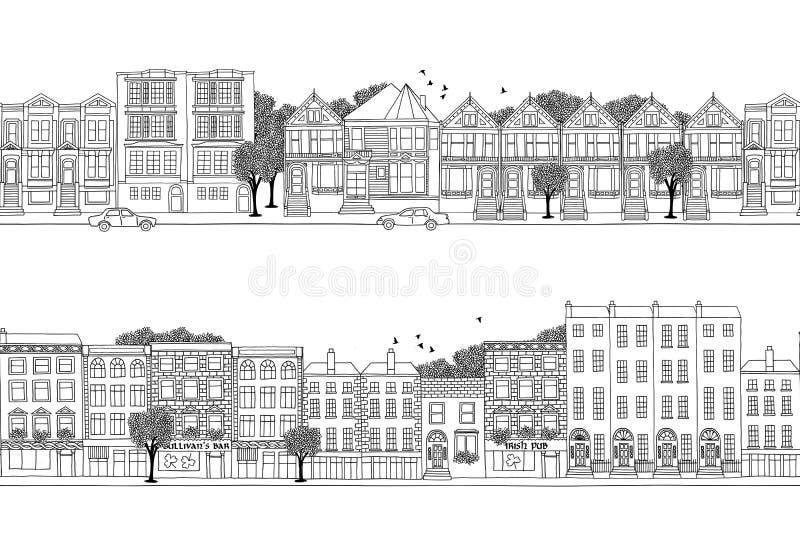 2 знамени города с викторианскими домами стиля бесплатная иллюстрация