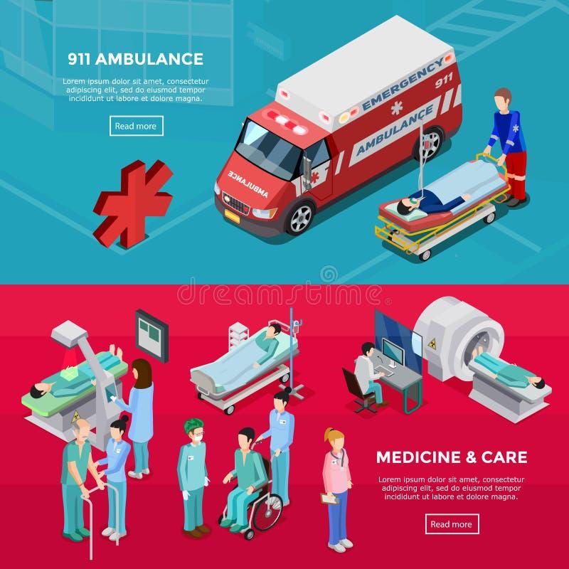 2 знамени равновеликих больницы горизонтальных иллюстрация вектора