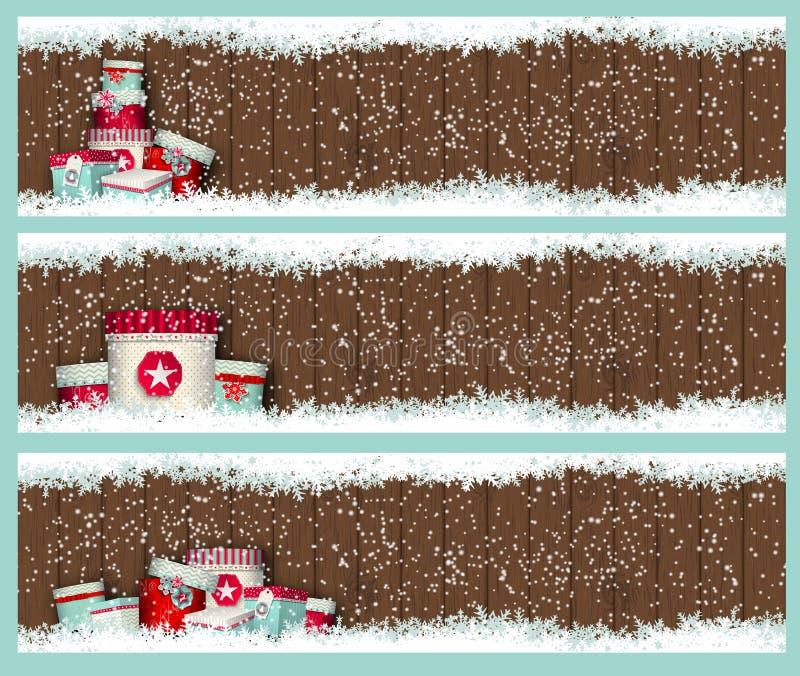 3 знамени рождества с коробками и снегом goft иллюстрация штока