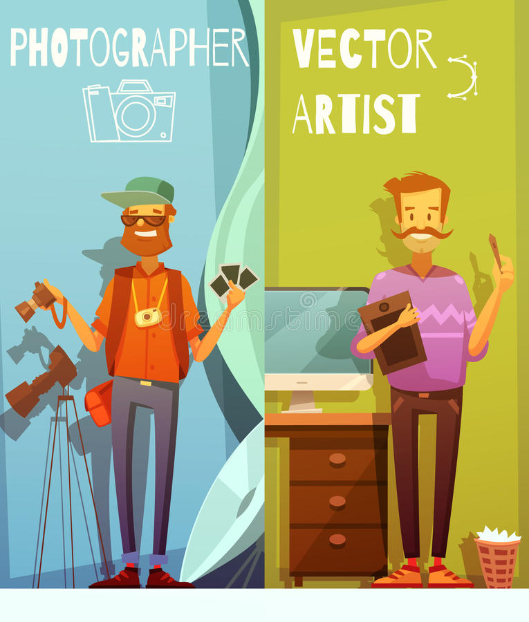 2 знамени с смешным фотографом и художником бесплатная иллюстрация