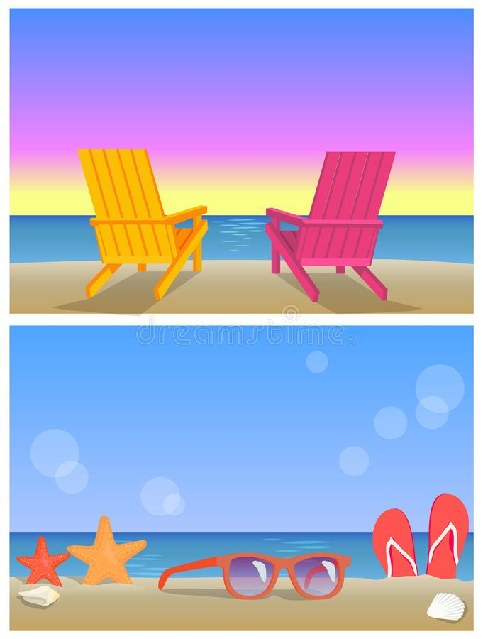 2 знамени Seascapes, иллюстрации временени иллюстрация штока