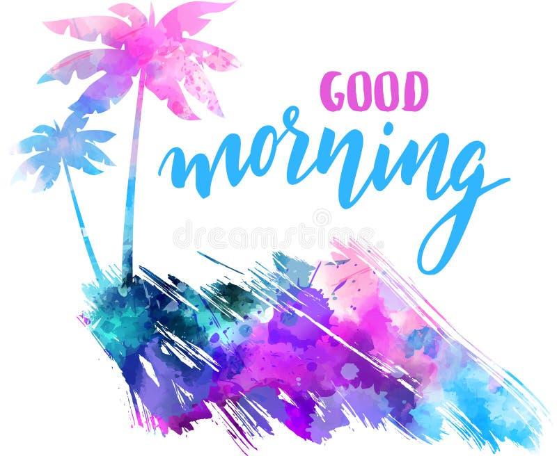 Знамя акварели доброго утра с пальмами иллюстрация штока
