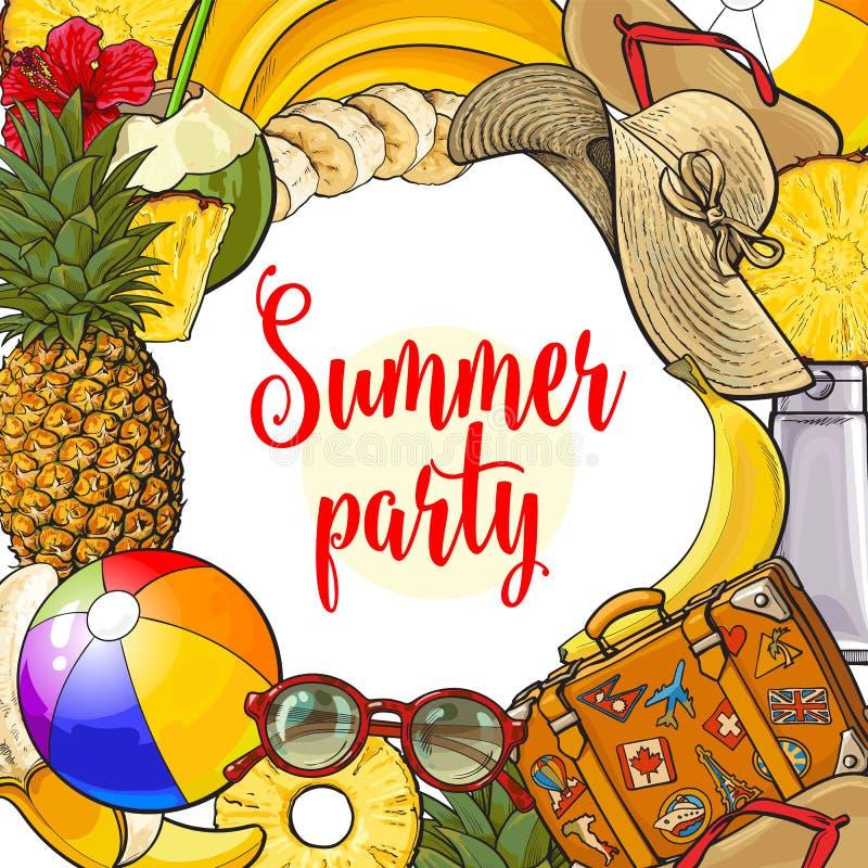 Знамя атрибутов каникул летнего времени с круглым местом для текста иллюстрация штока