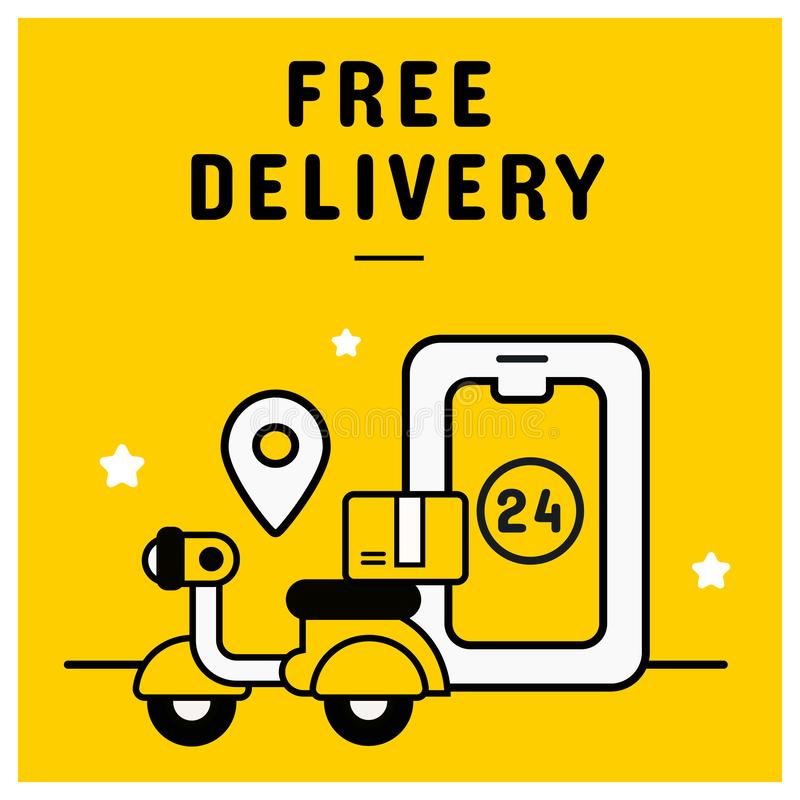 Знамя бесплатной доставки от онлайн ходя по магазинам концепции иллюстрация штока