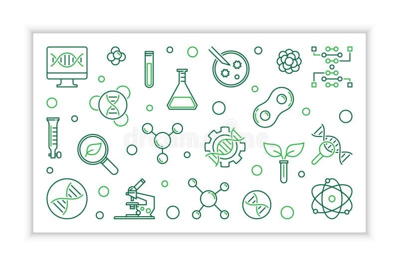 Знамя биотехнологии линейное Иллюстрация Biotech вектора бесплатная иллюстрация