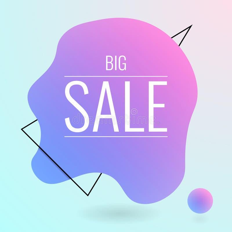 Знамя большой продажи жидкостное Круглая жидкая форма с текстом на ем иллюстрация вектора