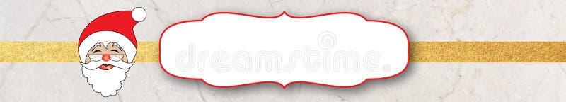 Знамя вебсайта яркого блеска рождества Санты, мрамора и золота иллюстрация вектора