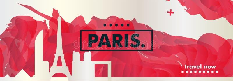 Знамя вектора градиента города горизонта Франции Парижа бесплатная иллюстрация