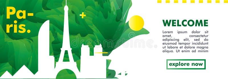 Знамя вектора градиента города горизонта Франции Парижа иллюстрация штока
