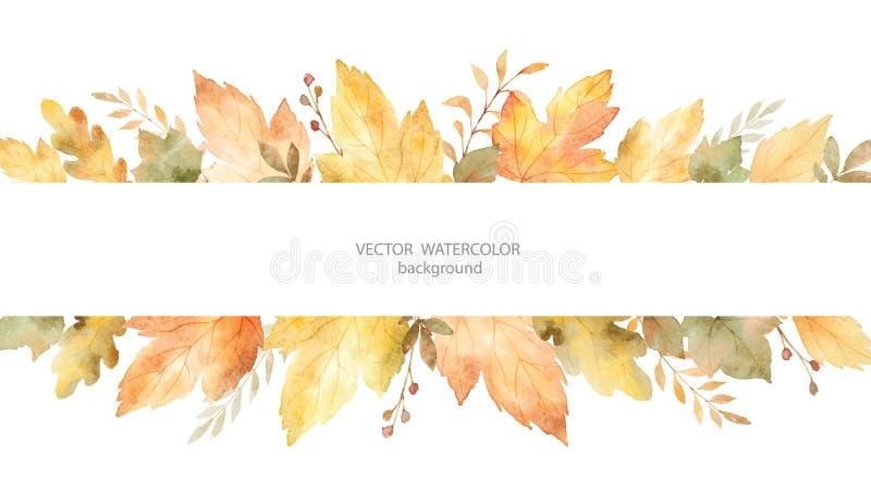 Знамя вектора осени акварели листьев и ветвей изолированных на белой предпосылке иллюстрация вектора