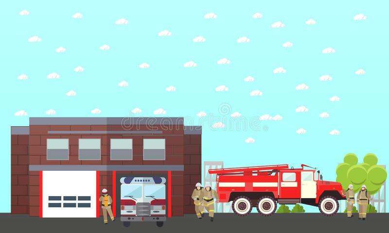 Знамя вектора отдела пожаротушения Станция и пожарные Тележка, строя иллюстрация штока