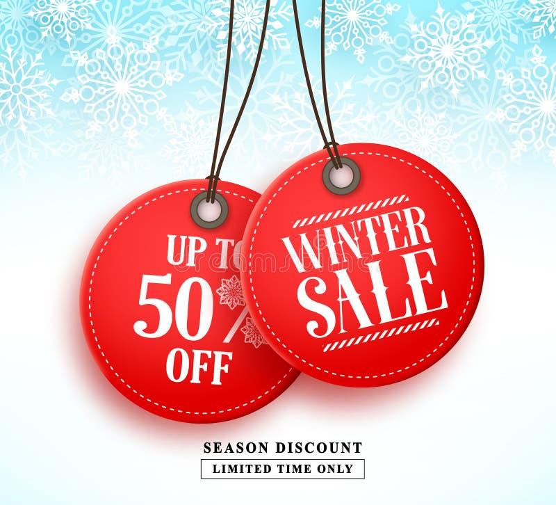Знамя вектора продажи зимы с смертной казнью через повешение бирки продажи 2 красных цветов в белой предпосылке снега иллюстрация вектора