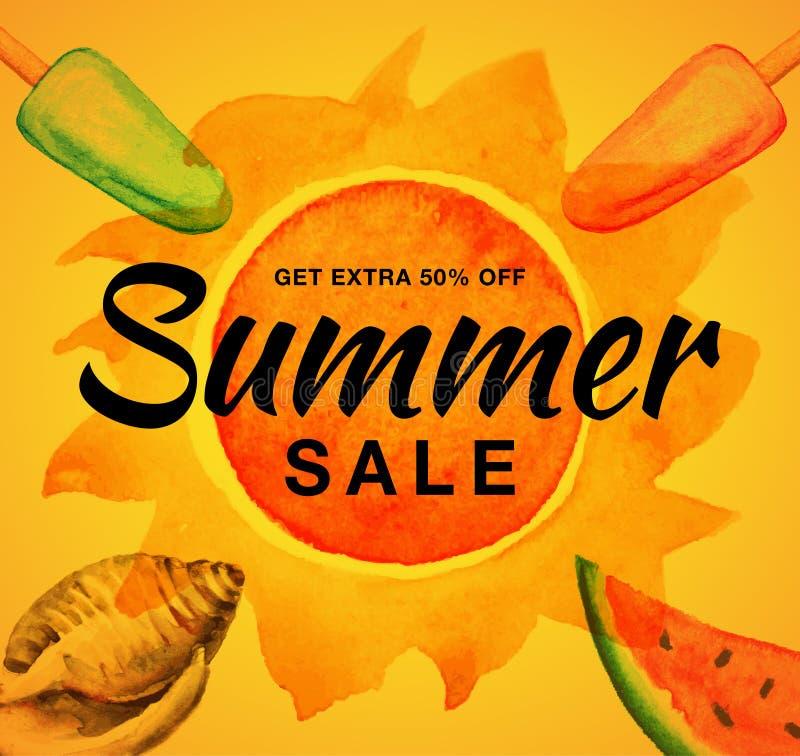 Знамя вектора продажи лета с предпосылкой апельсина солнца акварели Мороженое Watrecolor, раковина, арбуз, солнце иллюстрация вектора