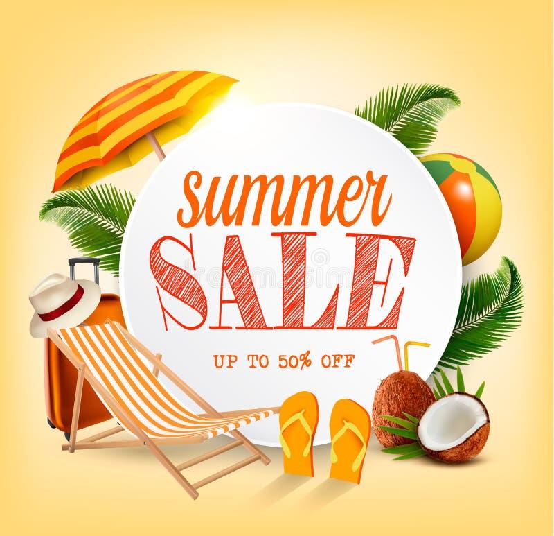 Знамя вектора шаблона продажи лета с красочными элементами пляжа бесплатная иллюстрация