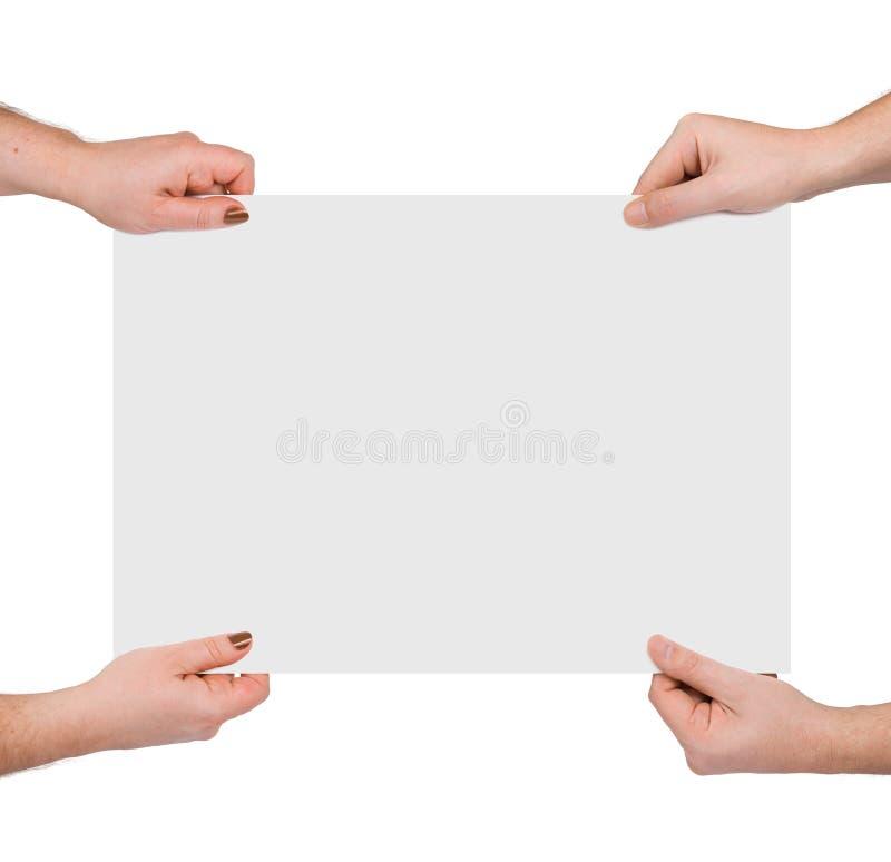 знамя вручает бумагу стоковая фотография