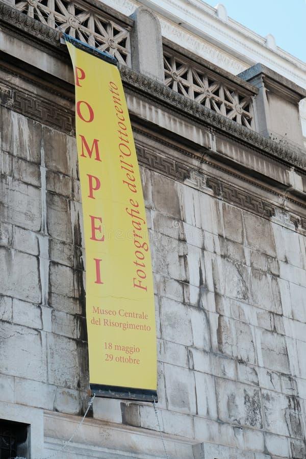 Знамя выставки Pompei на центральном музее Risorgimento в Риме стоковая фотография rf