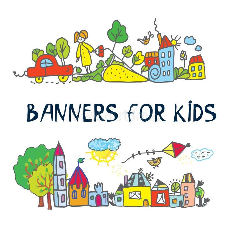Знамя для детей с стилем чертежей детей иллюстрация вектора