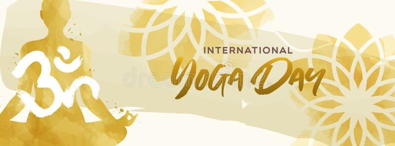 Знамя дня йоги акварели женщины в представлении лотоса бесплатная иллюстрация