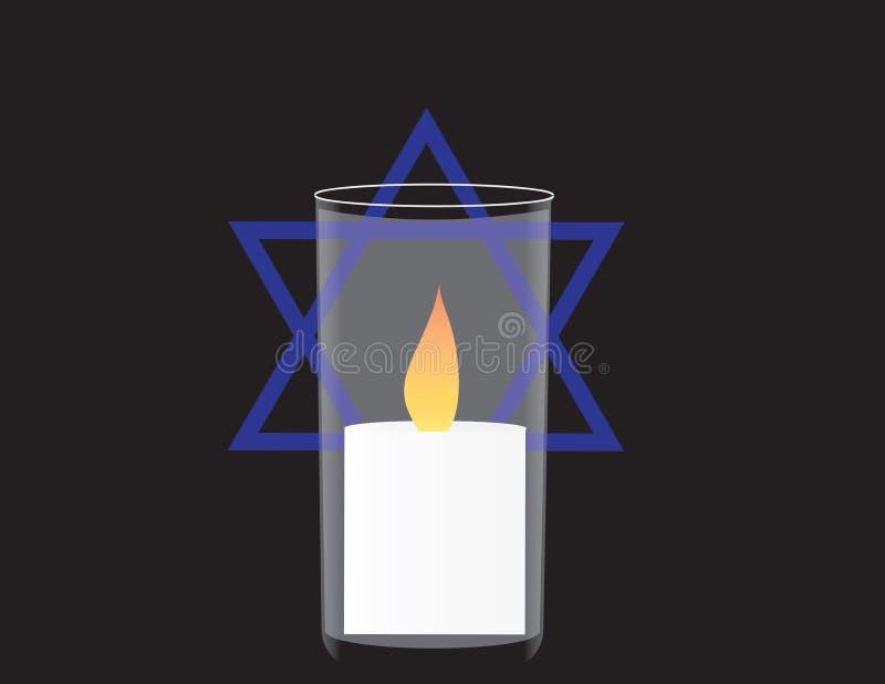 Знамя Дня памяти погибших в войнах Израиля Мемориальная свеча и звезда Давида иллюстрация вектора