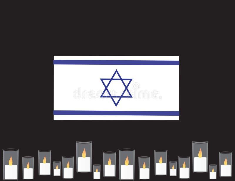 Знамя Дня памяти погибших в войнах Израиля Синь и флаг парламентера, мемориальные свечи бесплатная иллюстрация