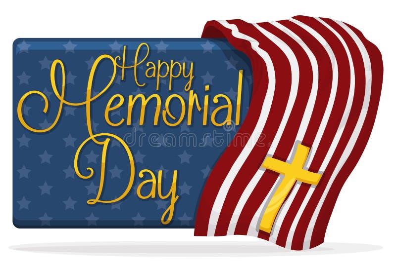 Знамя Дня памяти погибших в войнах с дизайном США и золотым крестом, иллюстрацией вектора бесплатная иллюстрация