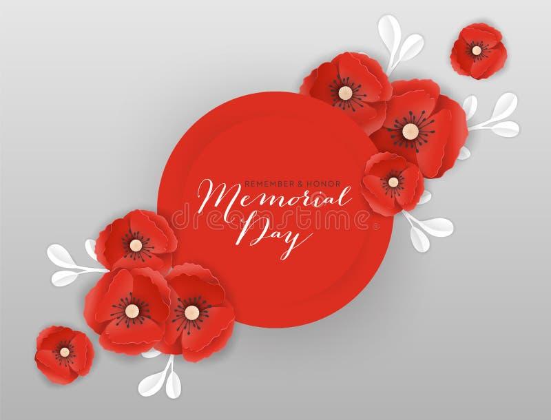 Знамя Дня памяти погибших в войнах с красными бумажными отрезанными цветками мака Плакат дня памяти погибших в первую и вторую ми иллюстрация вектора