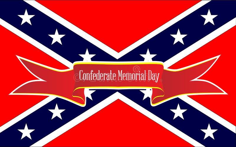 Знамя Дня памяти погибших в войнах Confederate иллюстрация штока