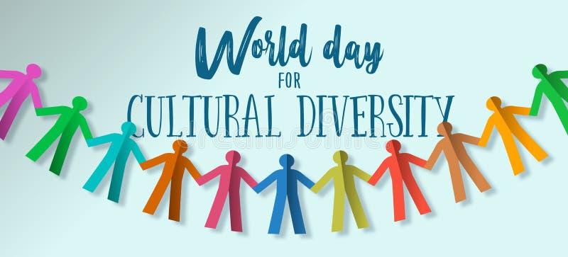 Знамя дня разнообразия культур бумажной команды людей иллюстрация вектора