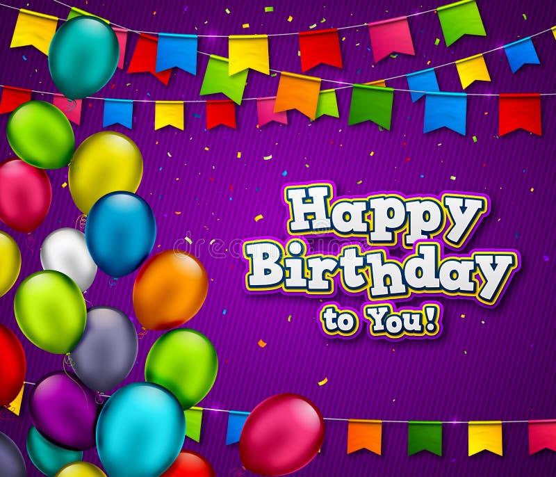 Знамя дня рождения вектора с confetti и пестроткаными воздушными шарами Предпосылка торжества с названием с днем рождений r иллюстрация вектора